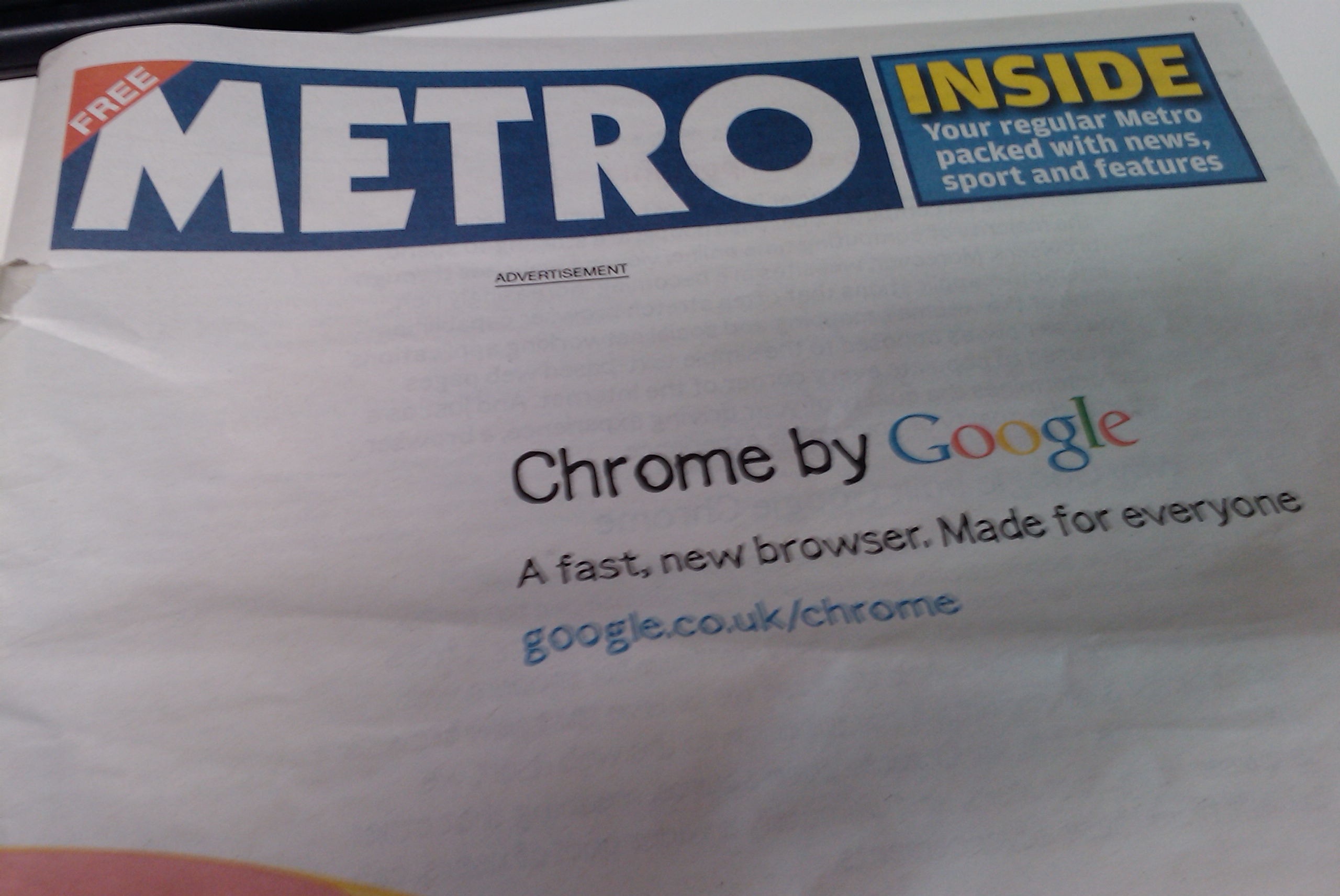 Google Chrome newspaper ad