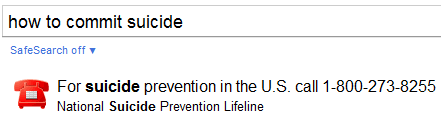 Google offers Suicide Prevention phone number