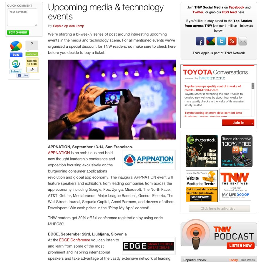 Upcoming media & technology events