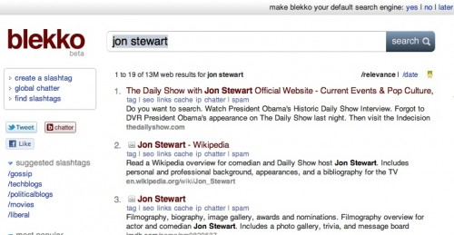 blekkojonstewart2 500x259 The TNW Review: blekko   Is this finally a Google killer?