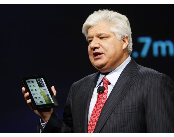 Mike Lazaridis, president and co-chief executive officer of Research in Motion, with Blackberry PlayBook at RIM Blackberry developers conference in San Francisco