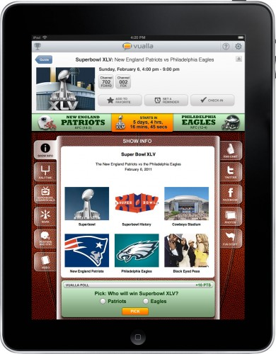 vualla superbowl info 390x500 Vualla: A social TV app for your iPad, plus a Super Bowl special