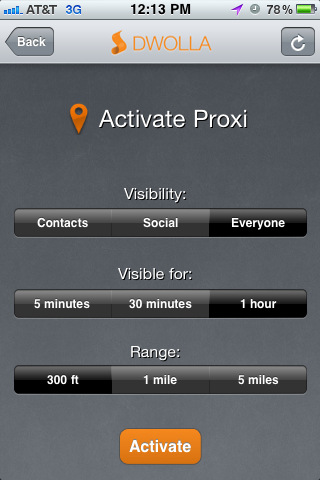 2. Proxi settings Dwollas Proxi does near field mobile payments, no NFC chip required