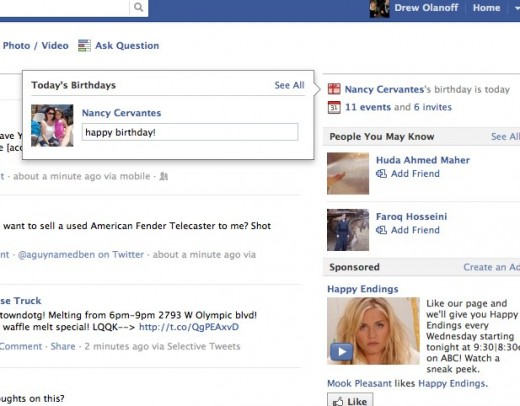 Facebook 5 520x406 Facebook makes it even easier to wish someone a Happy Birthday