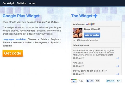 googlepluswidget 520x361  Widgets Plus gives you a shareable badge using Google+ API