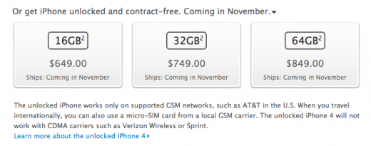 Screen Shot 2011 10 07 at 08.52.43 520x205 Unlocked Apple iPhone 4S coming to U.S in November
