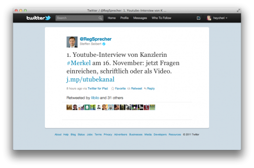 Screen Shot 2011 10 19 at 12.50.21 PM 520x343 The Federal Chancellor of Germany now has her own YouTube Channel