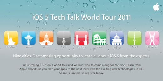 Screen Shot 2011 10 20 at 9.57.30 AM 520x259 Apple announces free iOS 5 Tech Talk 2011 training in 9 cities