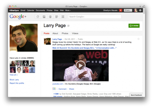 Screen Shot 2011 10 23 at 7.14.48 PM 520x368 Larry Page passes Mark Zuckerberg as most circled person on Google+