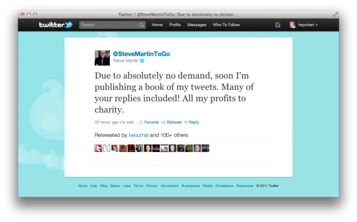 Screen Shot 2011 10 28 at 12.24.43 PM 520x324 Steve Martin is cramming loads of tweets into a book for charity