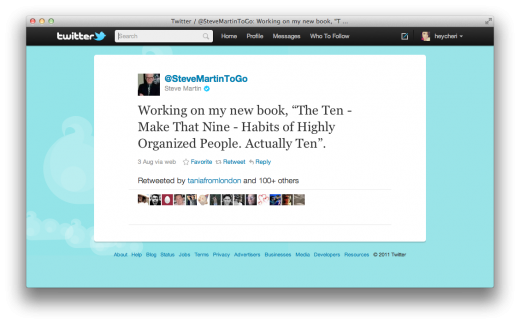 Screen Shot 2011 10 28 at 12.48.26 PM 520x324 Steve Martin is cramming loads of tweets into a book for charity