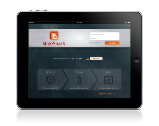 SlideShark iPad Login 520x412 PowerPoint on the iPad? SlideShark makes it happen seamlessly
