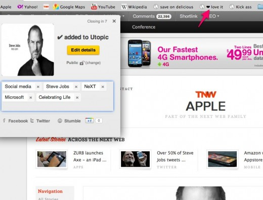 Steve Jobs Has Died The Next Web 1 11 520x397 Utopic.me launches new design and visual bookmarking to help discovery