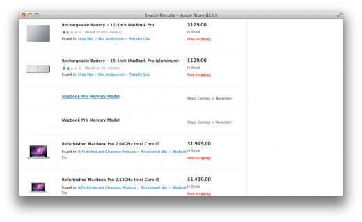 "apple store macbook pro leak 520x319 Leak on Apple's website hints at new MacBook Pros ""coming in November"""