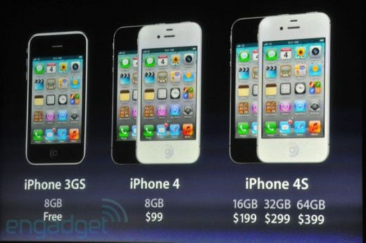 iphone5apple2011liveblogkeynote1590 520x345 Apple drops price of iPhone 4 to $99, iPhone 3GS is free with contract