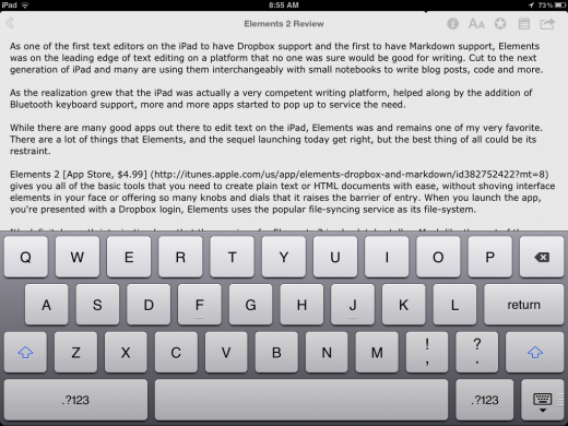 photo aug 11 8 55 08 am Elements 2.1 adds iCloud syncing, Markdown to HTML conversion, is iOS 5 only