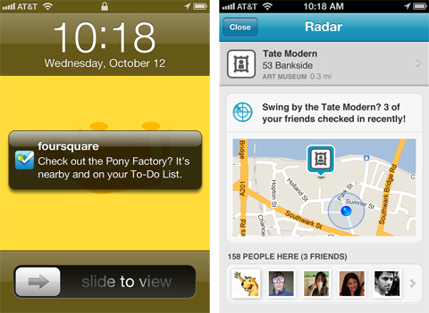 radar blog foursquare announces social location feature called Radar for iOS5