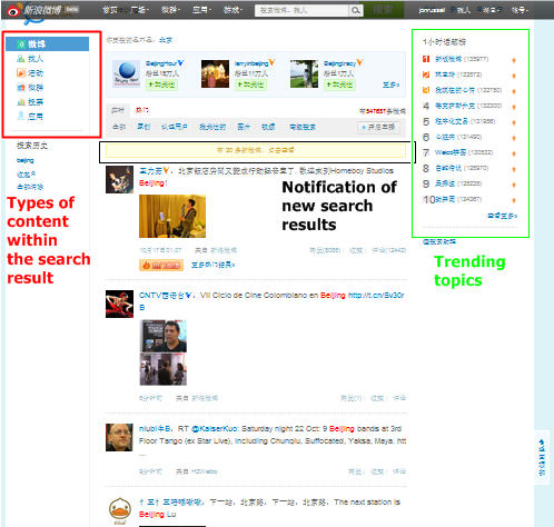 search beijing Chinas Sina introduces real time search to its weibo microblog service