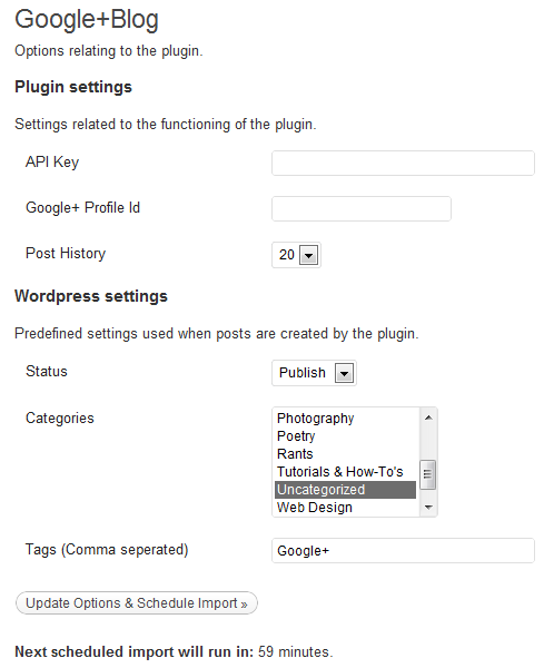 settings Crosspost your Google+ posts to your WordPress blog with this plugin