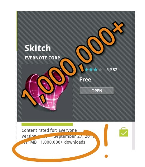 20111103 njwipcxqx14qhp3wqn7711buuh Evernotes Skitch for Android passes one million downloads in 7 weeks