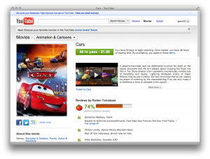 Cars 300x228 Disney movies are coming to YouTube