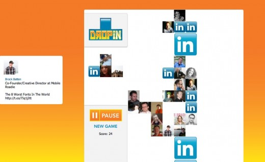 DropIn Play DropIn with your connections on LinkedIn 520x317 Play Tetris using your LinkedIn connections with DropIn