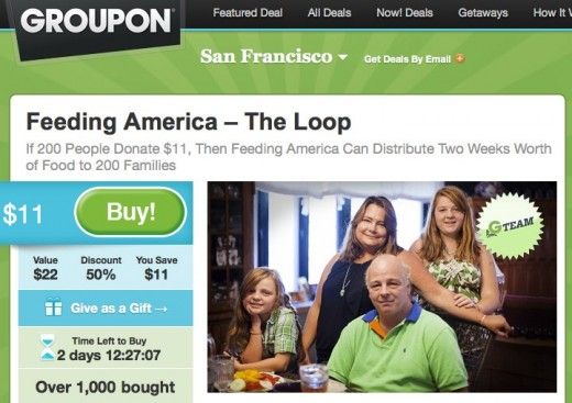 Feeding America Deal of the Day Groupon 520x367 Groupon launches Social Good campaign along with Lunch for $1