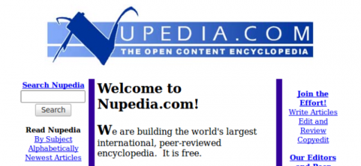 Nupedia the open content encyclopedia 2000 08 15 520x240 Larry Sanger on co founding Wikipedia and how online education could change the world