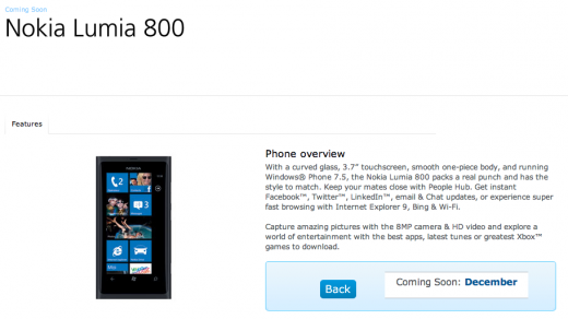 Screen Shot 2011 11 30 at 14.09.53 520x292 Nokias price is right for O2 as Lumia 800 goes on sale from December 9