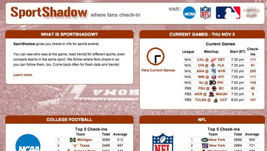 SportShadow where fans check in 520x295 SportShadow uses foursquares API to tell you whos at the game