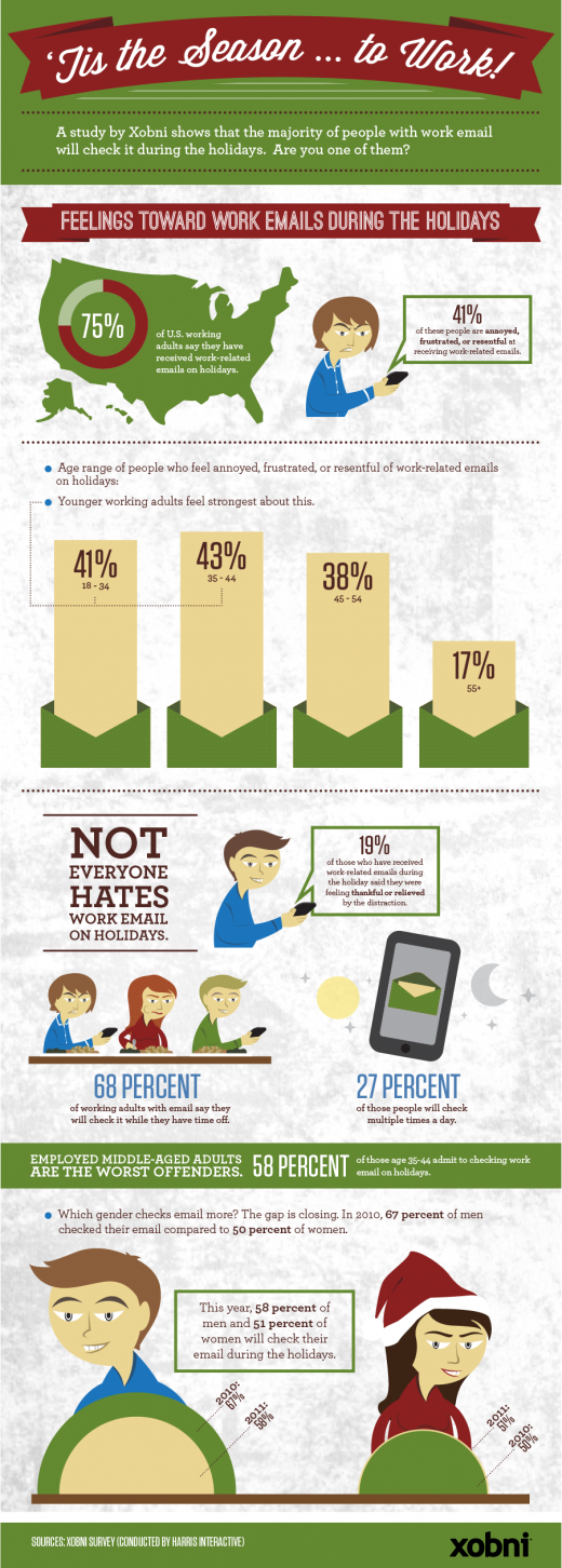 Tis the Season Xobni 2011 520x1452 Working during the holidays? Youre not alone [Infographic]