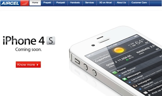 aircel iphone 4s coming soon india1 Apple iPhone 4S launching in India on November 25th