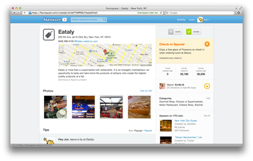 eataly Foursquare Completely Revamps Its Site For Better Content Discovery