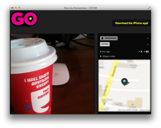go hd web app 520x412 GO HD lets you anonymously broadcast photos and videos from your iPhone
