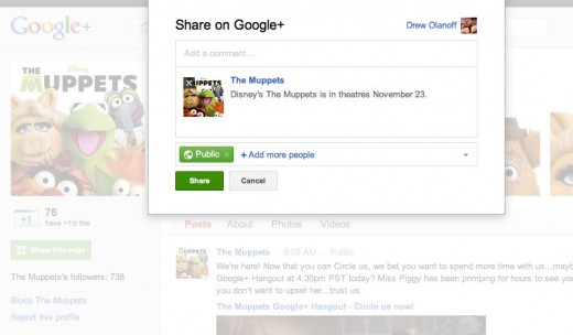 muppetspage 520x304 Google welcomes brands to Google+ by launching Pages and Direct Connect