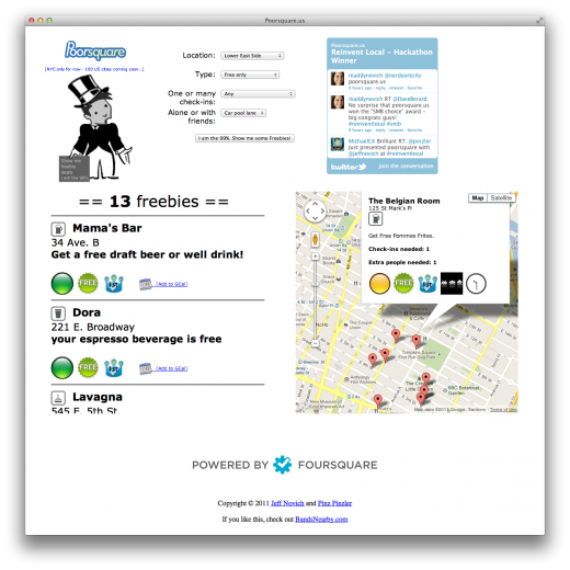 poorsquare 520x520 Poorsquare uses Foursquare to find freebies for you wherever you are