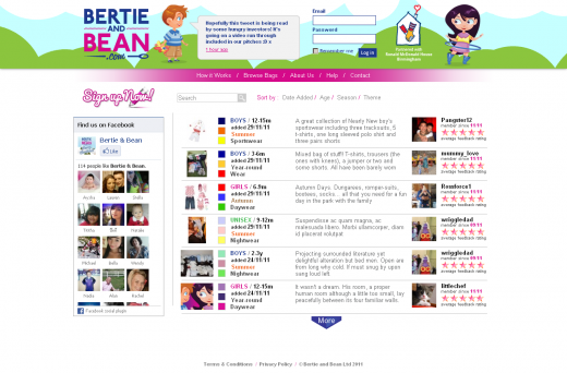 1 BB homepage 520x342 Bertie and Bean brings childrens clothing exchanges online in the UK