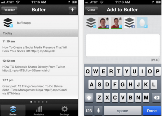 Buffer3 520x372 Buffer launches iOS app, opens its tweet scheduling service to the mobile masses