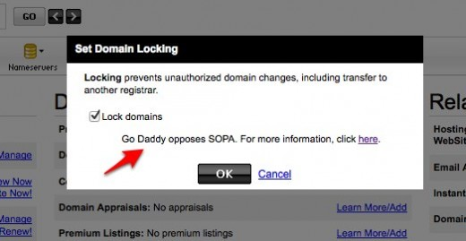 Domain Manager Domain Details 1 1 1 520x269 Go Daddy points out opposition to SOPA when you try to unlock your domain