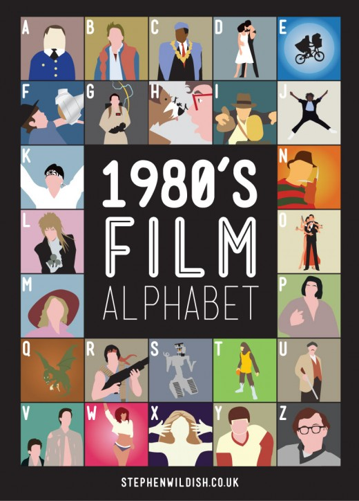 Eighties film alphabet by Stephen Wildish 520x724 This designers movie quiz will take you back to the eighties