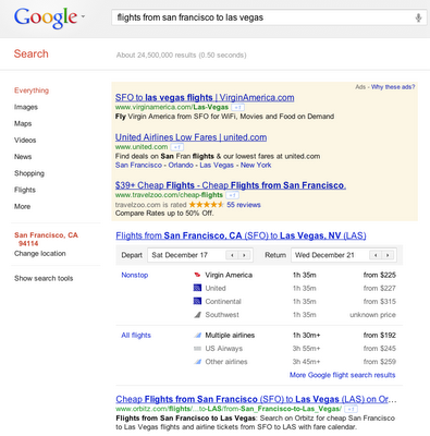 Google flight search results Google Flight Search now integrated into general search