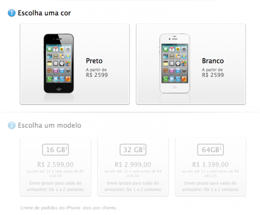 IPhone 4S Apple Brazil 520x431 iPhone 4S just launched in Chile and in Brazil, where it costs up to $1,830