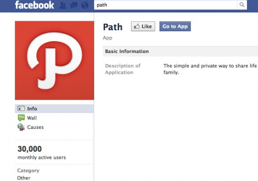 Screen Shot 2011 11 29 at 11.45.45 PM 520x365 Facebook stats show Path has 800% growth since relaunch