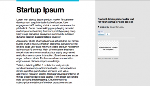 Screen Shot 2011 12 09 at 12.07.40 PM 520x297 Startup Ipsum: Product driven placeholder text for your startup