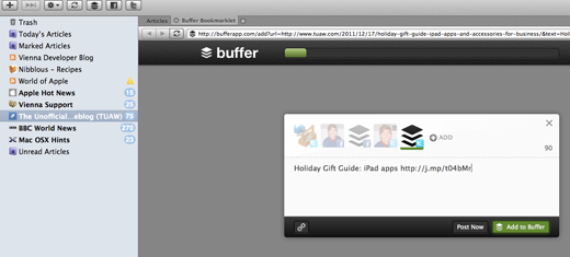 buffervienna Buffer tweet scheduler now included in Vienna RSS reader