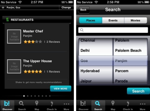 burrp iphone 1 520x384 Local recommendations website Burrp launches iPhone app for Indian users
