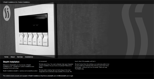 uber stealth 9 Gorgeous examples of black and white websites