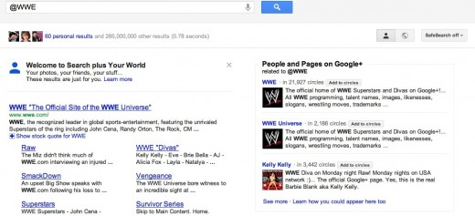 @wwe Google Search 1 520x237 This example is why Twitter is concerned about Google search, but should they be?