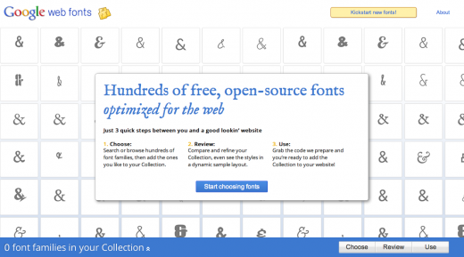 Google Web Fonts 520x289 Getting started with web fonts: Google, Typekit and @font face