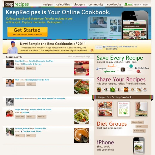 KeepRecipes Homepage Jan 271 520x519 KeepRecipes grows its online cookbook with iTunes for Recipes